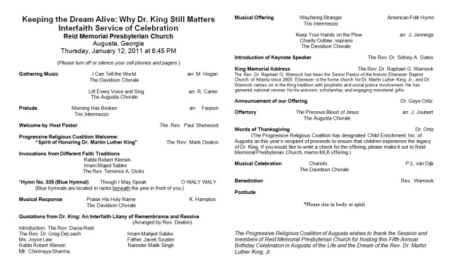 Bulletin for the 2012 interfaith celebration of the birth and life of Rev. Dr. Martin Luther King, Jr. in Augusta, Georgia Page #1