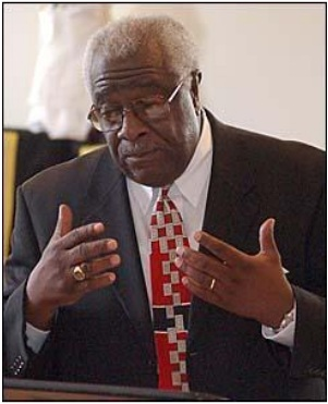 "Augusta Chronicle photo of Maryland lawmaker Clarence Davis for an April 28, 2002 story entitled ""Service remembers local victims of violent crimes"" by Staff Writer Timothy Cox. Reared in rural Washington, Georgia in the early 1950s, lawmaker Clarence Davis easily recognizes the changes in America's violent behavior telling about 100 people at a victims' rights program - inside the Beulah Grove Community Resource Center - that the lack of respect and discipline has been a large part of creating more a violent society:"