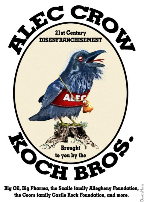 ALEC Crow Cartoon #2 21st Century Disenfranchisement by DonkeyHotey
