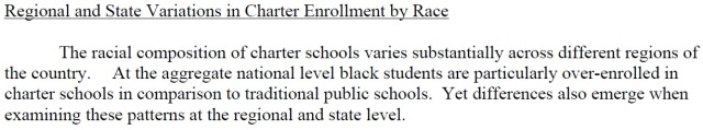 "Segregation is not just a problem at White Charter Schools: African Americans are ""over-enrolled"" at Black Charter Schools - and that means students are generally deprived of racial diversity"