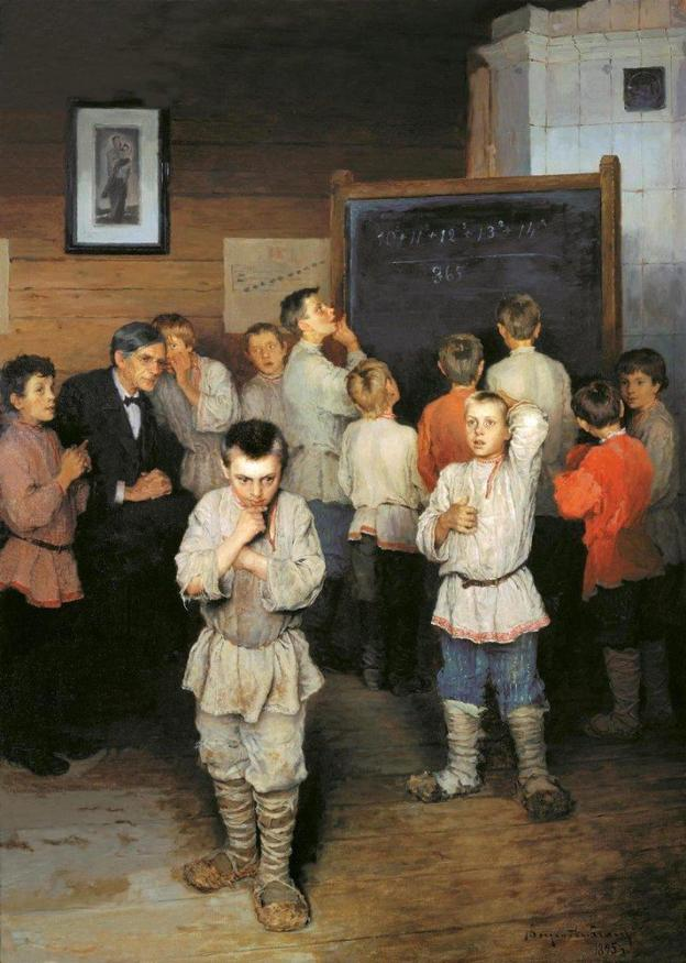Russian Oil Painting of Children Thinking by Nikolai Bogdanov-Belskyvia