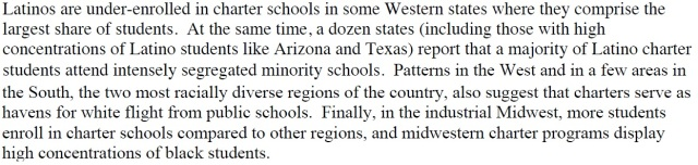 Looking at Regions of America give a good idea of Charter Schools Segregation practices and other policies.