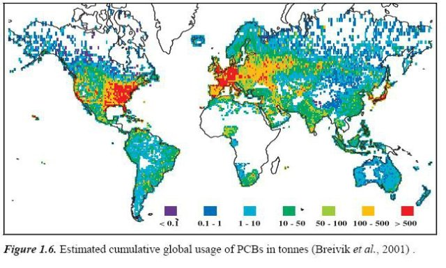 Global usage of PCBs by ton