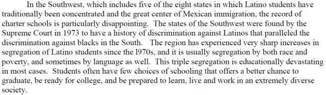 Racism against Latino Students appears to be Severe in the Southwest at Charter Schools and Public Schools