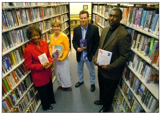 "Augusta Chronicle photo of teachers and authors from a February 2005 story entitled ""Book fairs teach value of reading"" by Staff Writer Greg Rickabaugh about the Murphey Middle School annual Family and Community Book Fair including Augusta author Barbara Thurmond, who wrote ""Joy in My Heart: My Journey From Hopelessness to Happiness"": Barbara Thurmond book"