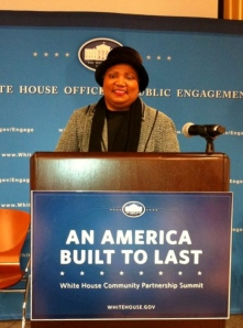 #2 Rev. Dr. Diane B. Evans at the White House, Chapter Leader Progressive Democrats of CSRA (Tri-Counties) on White House Podium