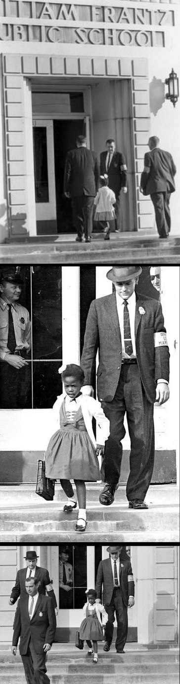 Escorted by U.S. Marshalls, six-year-old Ruby Bridges arrives and leaves of the historic William Frantz Elementary School building in New Orleans (Circa 1960) – Photos courtesy Associated Press (AP) Wide World Photos