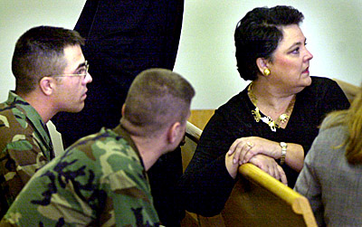 Victim's rights advocate Sheila Stahl in an Augusta courtroom during late 2000 with the husband of a U.S. Army Sgt. who was killed by a mass murderer. Photo by Jonathan Ernst, Augusta Chronicle Staff