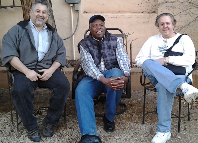 Pictured from left to right are Steve Shaff of Washington, D.C., Rev. Terence A Dicks of Augusta, Georgia, and Mike Hersh of Wheaton, Maryland in Winslow, AZ for Feb. 2012 Progressive Democrats of America strategy conference
