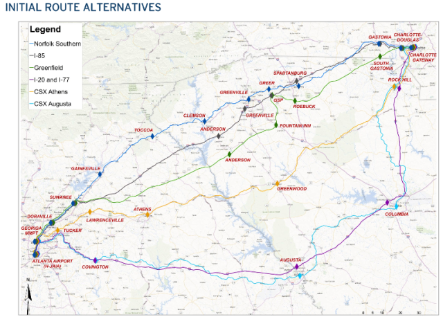 SE Rail Corridor Augusta to Atlanta, and alternative routes